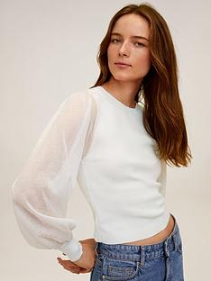 mango-sheer-puff-sleeve-top-beige