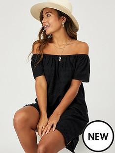 accessorize-schiffli-off-shoulder-beach-dress-black