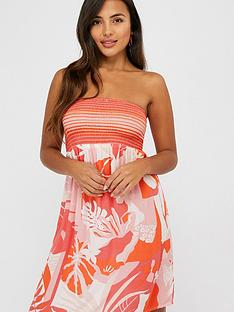 accessorize-print-bandeau-dress-coral