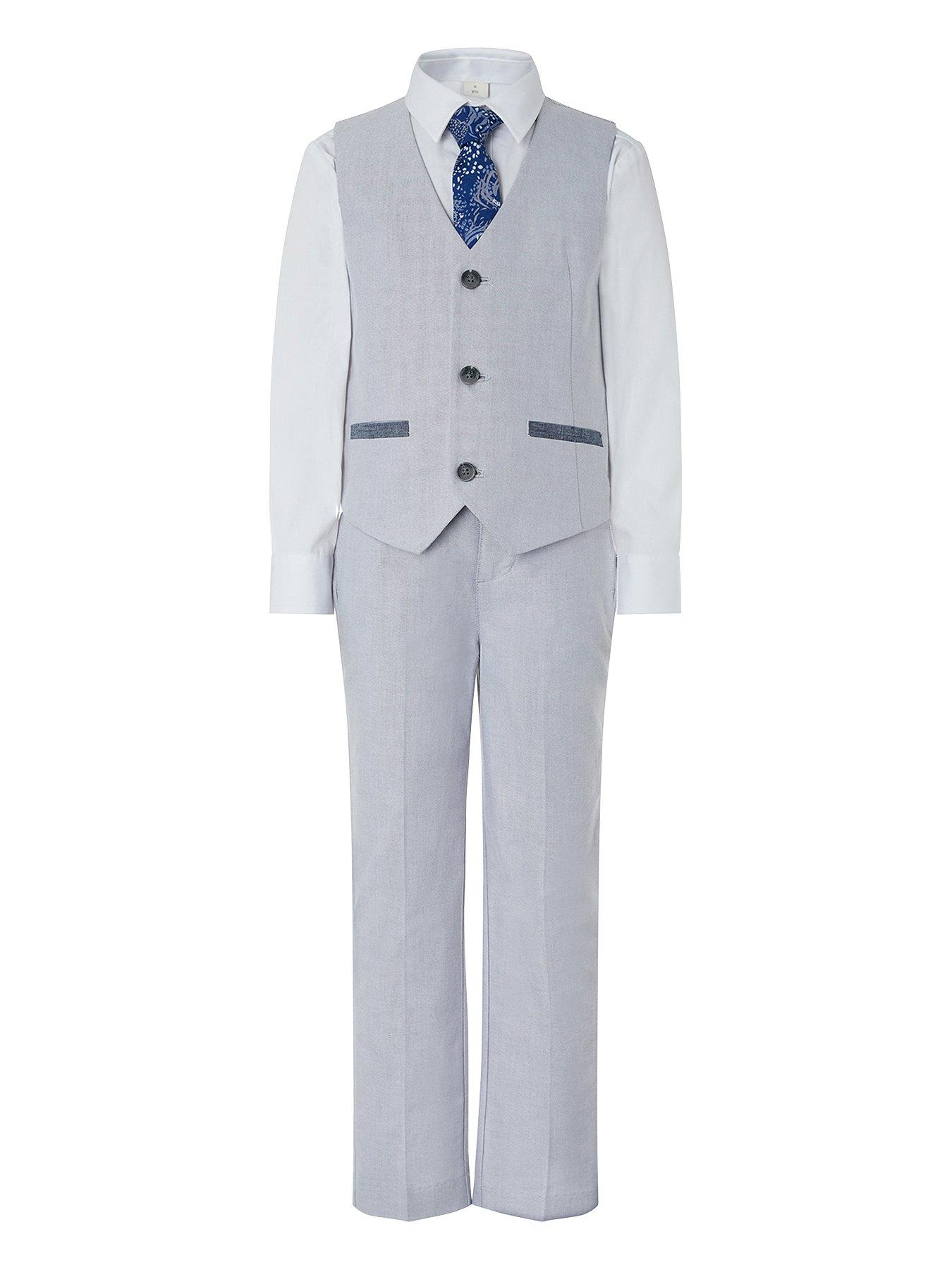 15 years Boys Formal Grey Wedding Suit Included White Shirt /& Grey Tie Age 6 month