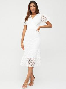 v-by-very-fluted-hem-lace-midi-dress-white
