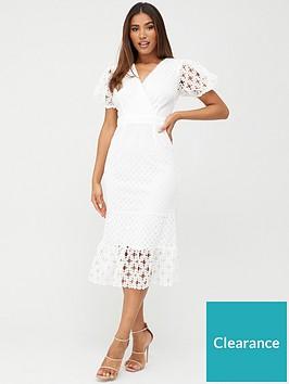 v-by-very-fluted-hem-lace-midi-dress-white