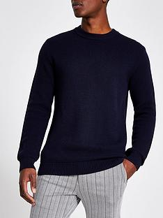 river-island-navy-slim-fit-knitted-jumper