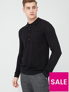 river-island-black-long-sleeve-slim-fit-knitted-polo-shirt