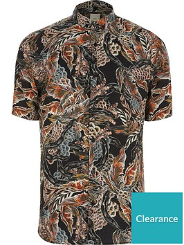 river-island-big-amp-tall-feather-print-short-sleeve-shirt-blacknbsp