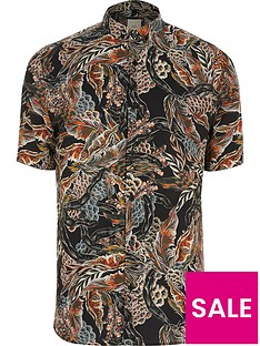 river-island-big-tall-feather-print-short-sleeve-shirt
