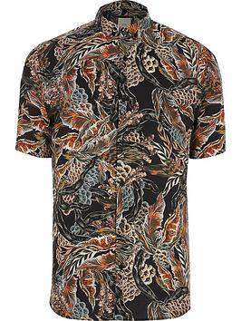 river-island-big-tall-feather-print-short-sleeve-shirt