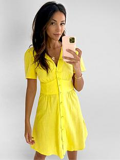 michelle-keegan-angel-sleeve-linen-mini-dress-yellow