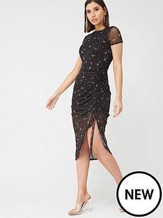 missguided-missguided-ditsy-floral-mesh-ruched-midi-dress-black