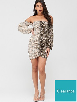 missguided-missguided-ditsy-floral-mixed-print-ruched-mini-dress-black