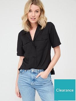 v-by-very-short-sleeve-utility-top-black