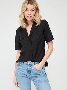 v-by-very-tencel-short-sleeve-utility-top-black