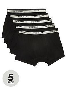 river-island-black-ri-metallic-waistband-trunks-5-pack