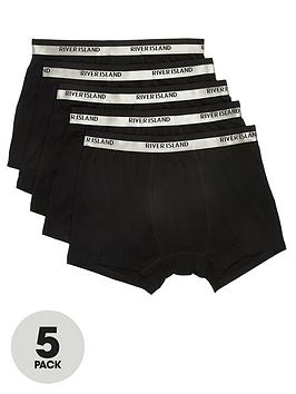 river-island-black-ri-metallic-waistband-trunks-5-pack