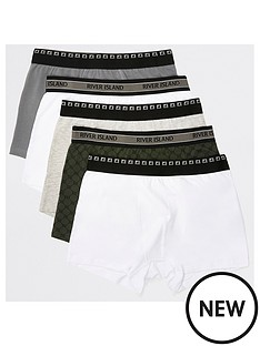 river-island-khaki-ri-monogram-trunks-5-pack