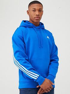 adidas-3-stripe-pullover-hoodie-blue