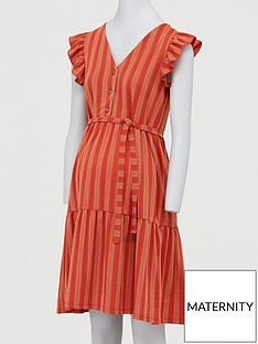 mama-licious-maternity-cap-sleeved-stripe-dress-orangenbsp