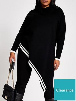 ri-plus-white-tipped-asymmetric-hem-jumpernbsp--black