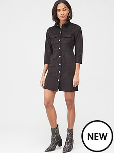 v-by-very-faux-suede-mini-dress-black