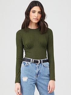 v-by-very-seam-detail-long-rib-sleeve-top-khaki