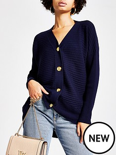 river-island-river-island-blocked-rib-knitted-cardigan-navy