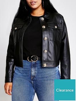 ri-plus-pu-crop-jacket-black