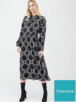 river-island-chain-print-waisted-midi-dress--blackwhite