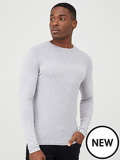 river-island-grey-stitch-panel-slim-fit-jumper