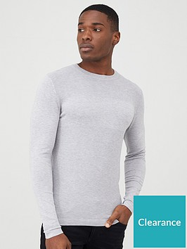 river-island-stitch-panel-slim-fit-jumper-grey