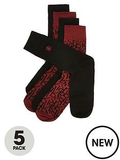 river-island-burgundy-ri-monogram-socks-5-pack