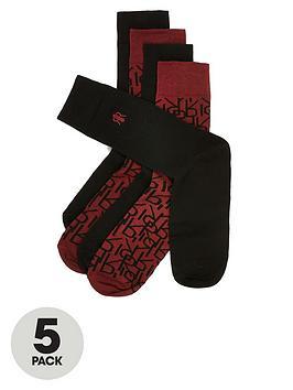 river-island-burgundy-ri-monogram-socks-5-pack