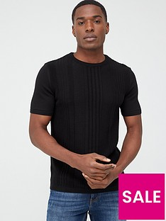 river-island-black-slim-fit-pointelle-knitted-t-shirt