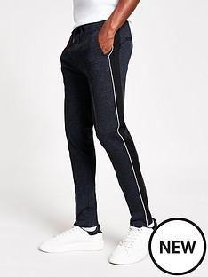 river-island-navy-textured-skinny-smart-joggers