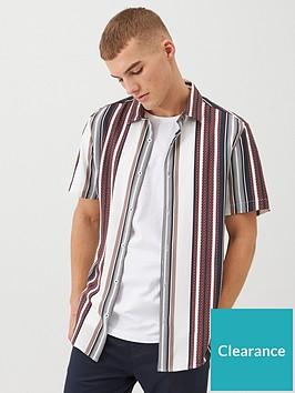 river-island-short-sleeve-textured-stripe-shirt-rednbsp