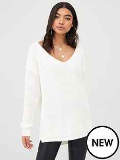 boohoo-boohoo-oversized-v-neck-jumper-cream