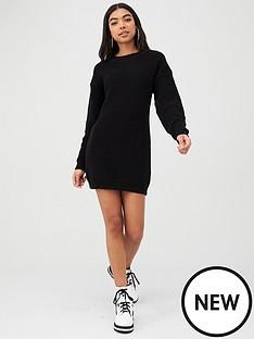 boohoo-boohoo-crew-neck-jumper-dress-black