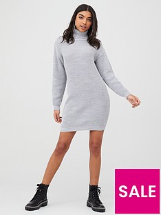 boohoo-boohoo-roll-neck-jumper-dress-silver
