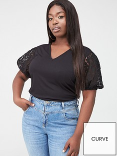 v-by-very-curve-lace-sleeve-v-neck-t-shirt-black