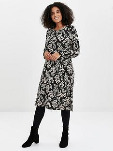 evans-daisy-print-jersey-dress-black