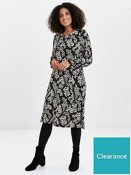 evans-daisy-print-jersey-dress-black