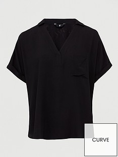 v-by-very-curve-short-sleeve-viscose-shirt-black