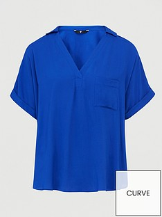 v-by-very-curve-short-sleeve-viscose-shirt-blue