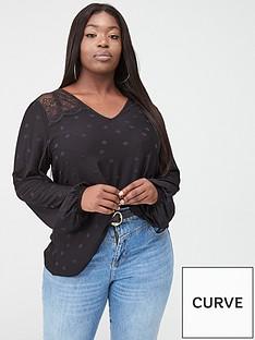 v-by-very-curve-lace-insert-spot-top-black