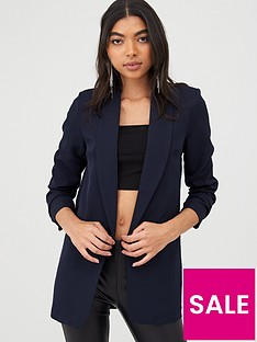 boohoo-boohoo-ruched-sleeved-blazer-navy