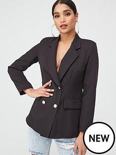 boohoo-boohoo-double-breasted-boxy-military-blazer-black