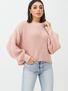 boohoo-boohoo-oversized-balloon-sleeve-cropped-jumper-blush