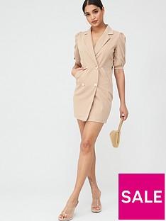boohoo-boohoo-puff-sleeve-blazer-dress-taupe