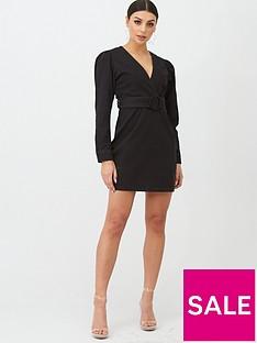 boohoo-boohoo-belted-wrap-balloon-sleeve-denim-dress-black