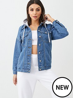 boohoo-boohoo-denim-jacket-with-jersey-hood-blue