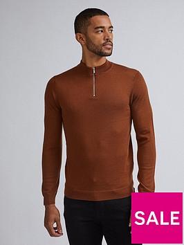 burton-menswear-london-merino-half-zip-neck-jumper-brown